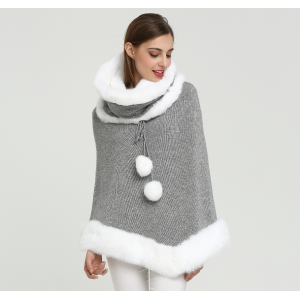 Wholesale Fashion High Quality Women Cashmere Poncho with Fur Collar