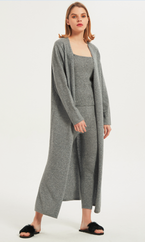 Wholesale OEM ladies pure cashmere long cardigan nightwear from Chinese manufacturer
