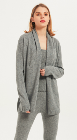 Wholesale high quality ladies cashmere flanging cardigan knitwear nightwear from Chinese factory