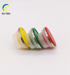 Accept customized size 32mm 42mm 57mm plastic cap with round theft proof metal ring