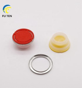 Factory hotsale 32mm 42mm 57mm plastic spout cap plastic lids with theft proof metal ring