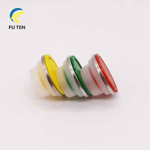 Non spill plastic screw bottle caps flexspout closure with metal tin ring