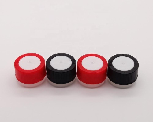 Plastic child safety caps screw funnel plastic spout for empty round aerosol oil can bottle