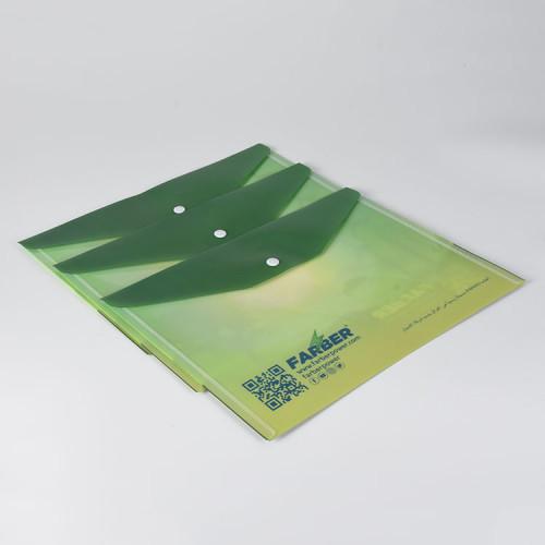 A4 مجلد مغلف بلاستيكي مع إغلاق زر المفاجئة لطلاب المدارس