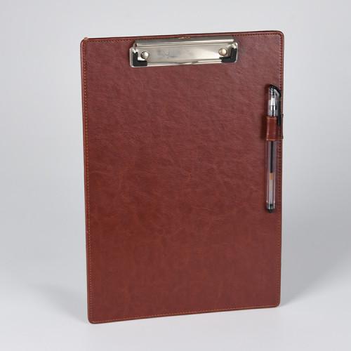 Portapapeles de papel de cuero marrón PU con soporte para bolígrafo