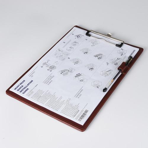 ペンホルダー付き茶色PUレザー紙クリップボード