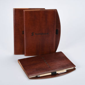 A5 Brown Leather Reusable Cover Notebook with Pen Loop