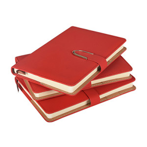 A5 Red Faux Leather Hard Cover Notebook with Magnet Closure