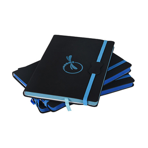 A5 Customized Logo PU Leather Notebook with Color Edge and Elastic Band