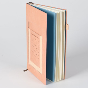 A5 PU Leather Notebook with Card Holder Slots