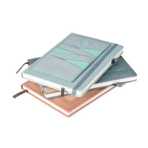 A5 PU Leather Notebook with Detachable Card Holder Slots