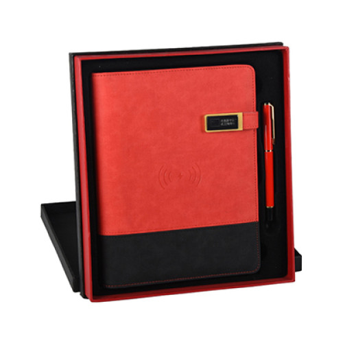 2020 Multifunction PU Leather Dairy Luxury Gift Set with Wireless Charger and USB Port