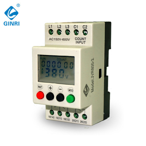 Three Phase Voltage Monitoring Relay GINRI JVR800-2 LCD Display Over Under Voltage Protector