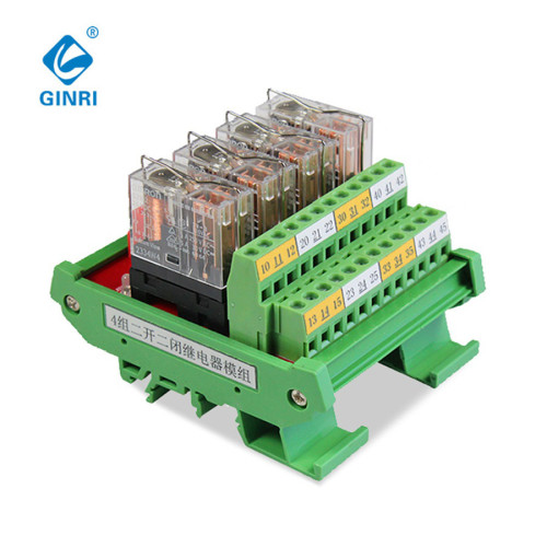 4ch Relay Module JR-4L2/DC24V  DPDT OMRON  2NO 2NC  4 Channel Relay Module Board With Base