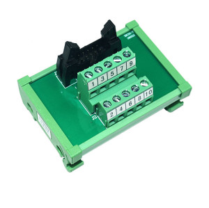 JR-10TBC PLC Output Interface Module  DIN Rail Mounting IDC 10 Breakout Board