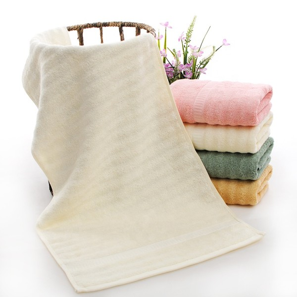 Soft luxury jacquard border wave bamboo fiber plain colour bath towel,customizable design.