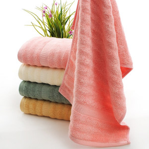 Soft luxury jacquard border wave bamboo fiber plain colour bath towel,customizable design.