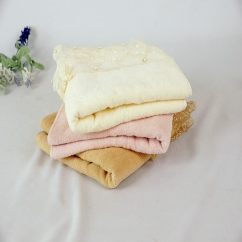 Plain weave velvet towel with a beautiful lace and bowknot, factory supply, customizable design.
