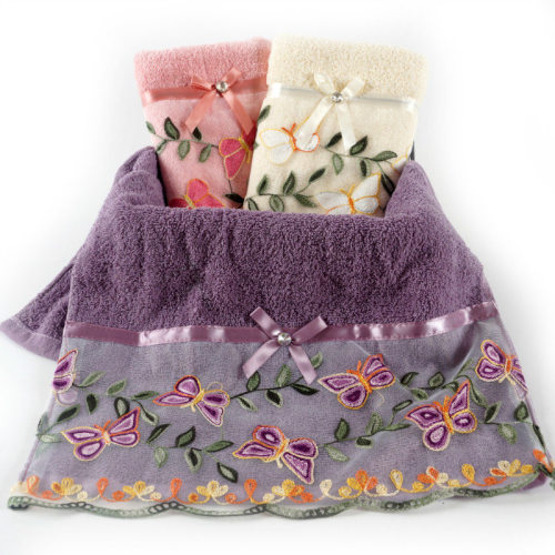 Plain weave velvet towel with a beautiful flower lace bowknot ,luxury good quality gift towel.