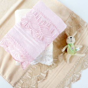 plain weave velvet towel with a beautiful lace and pearl ,luxury good quality gift towel.