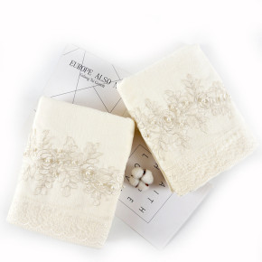 Plain weave velvet towel with a beautiful lace and pearl ,luxury good quality gift towel,