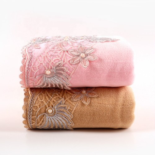 Plain weave velvet towel with a beautiful lace as for gift,factory supply, customizable design.