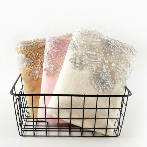Plain weave velvet towel with beautiful lace and pearl silver thread ,luxury good quality gift towel