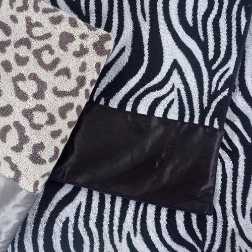Satin cloth border tiger stripes leopard grain jacquard towel,100% cotton, factory supply, reusable.