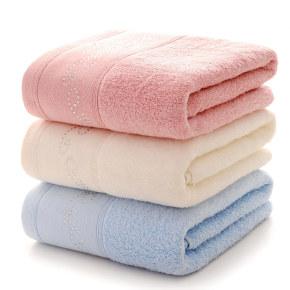Soft light colour zero twist towel set with a beautiful diamond decoration on the border gift towel.