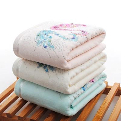 Noble Diamond Velvet Swan pattern Bath Towels, 100% cotton,customizable design.