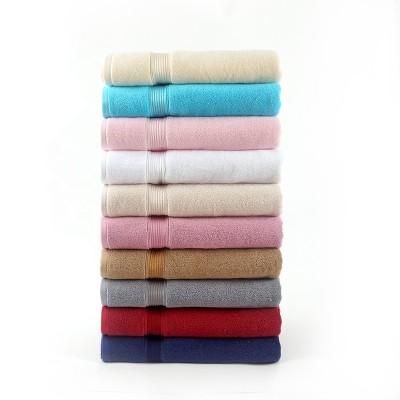 Plain color horizontal stripe satin gear bath towel, 100% cotton jacquard border.