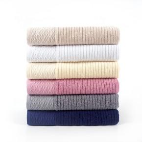 Plain color cross stripe jacquard bath towel, 100% cotton grid border, factory supply, reusable.