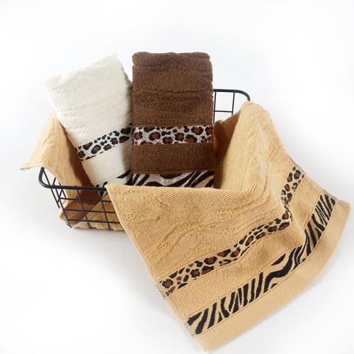 tiger stripe leopard satin jacquard border bath towel,100% cotton, factory supply, reusable.