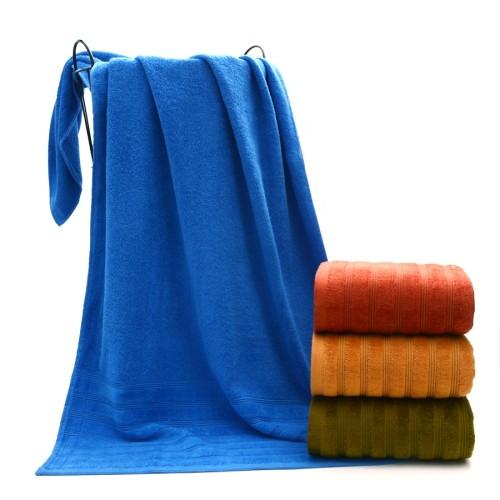 Plain color jacquard border dobby heavy bath towel,100% cotton, factory supply, reusable.