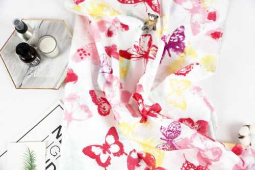 Printing colourful butterfly Bath Towel good quality velvet gift, factory supply, reusable.