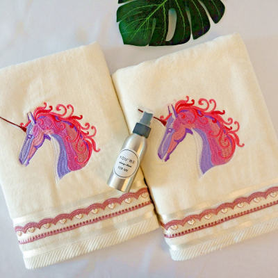 100% cotton embroidery animal velvet plain color towel, gift towel with lace,reusable.