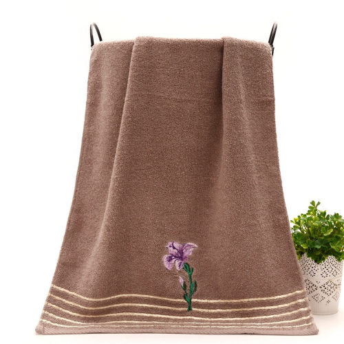Plain weaving towel with Bright ribbon and flower embroidery classic five-car bath towel