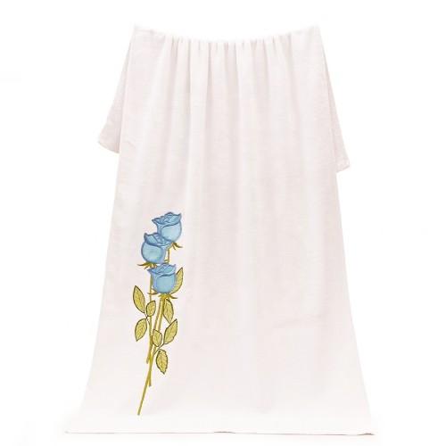 Women favorite beautiful white embroidery flower bath towel 100% cotton plain weaving