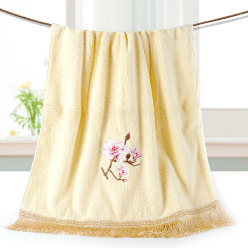 Beautiful flower pattern embroidery macrame bath towel 100% cotton, factory supply, reusable.