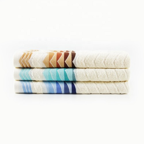 Colourful wave jacquard yarn dyed satin gear towel,100% cotton,factory supply, reusable.