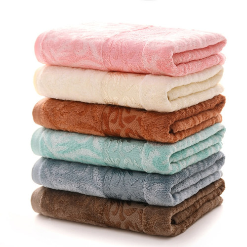 Bamboo and cotton velvet high quality jacquard towel soft and luxury light colour.
