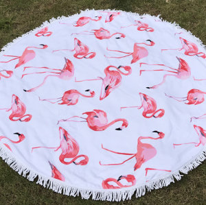 100% cotton or microfiber round tassel velvet printing beach towel Western style.
