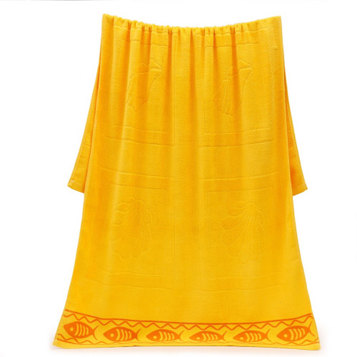 Jacquard fish and shell velvet big size colourful beach towel,100% cotton,reusable.