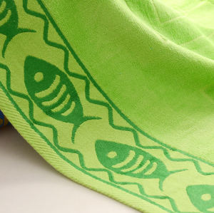 Jacquard fish and shell velvet big size colourful beach towel,100% cotton,reusable.