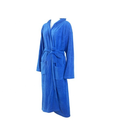 Blue microfiber adult bathrobe man quick-dry soft,factory supply, reusable.