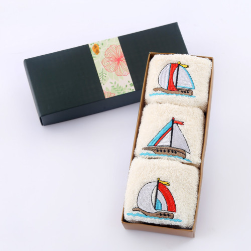 One set of sailboat embroidery terry face towel hand towel 100% cotton,Towel Set,Cotton Towel,Towel Bath