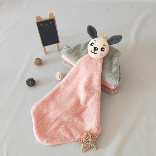 Children's favorite rabbit pattern coral velvet hand towel,factory supply, reusable.