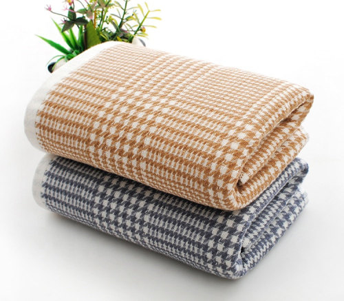 100% cotton jacquard gauze and zero twist soft dyed yarn plaid towel set,factory supply, reusable.