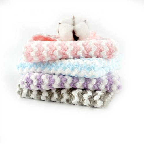 Yarn dyed stripe microfiber coral fleece beautiful towel fast dry towel,reusable.