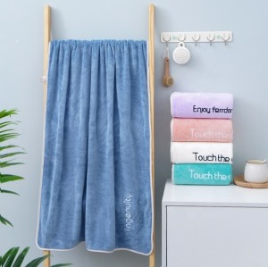 Softer plain color microfiber bath towel,80% polyester 20% polyamide quick dry towel with embroidery